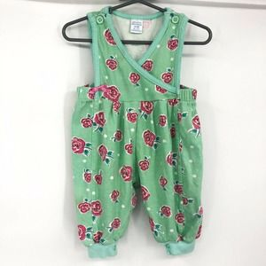 Vintage Girls Baby Jumpsuit Green And Pink Floral